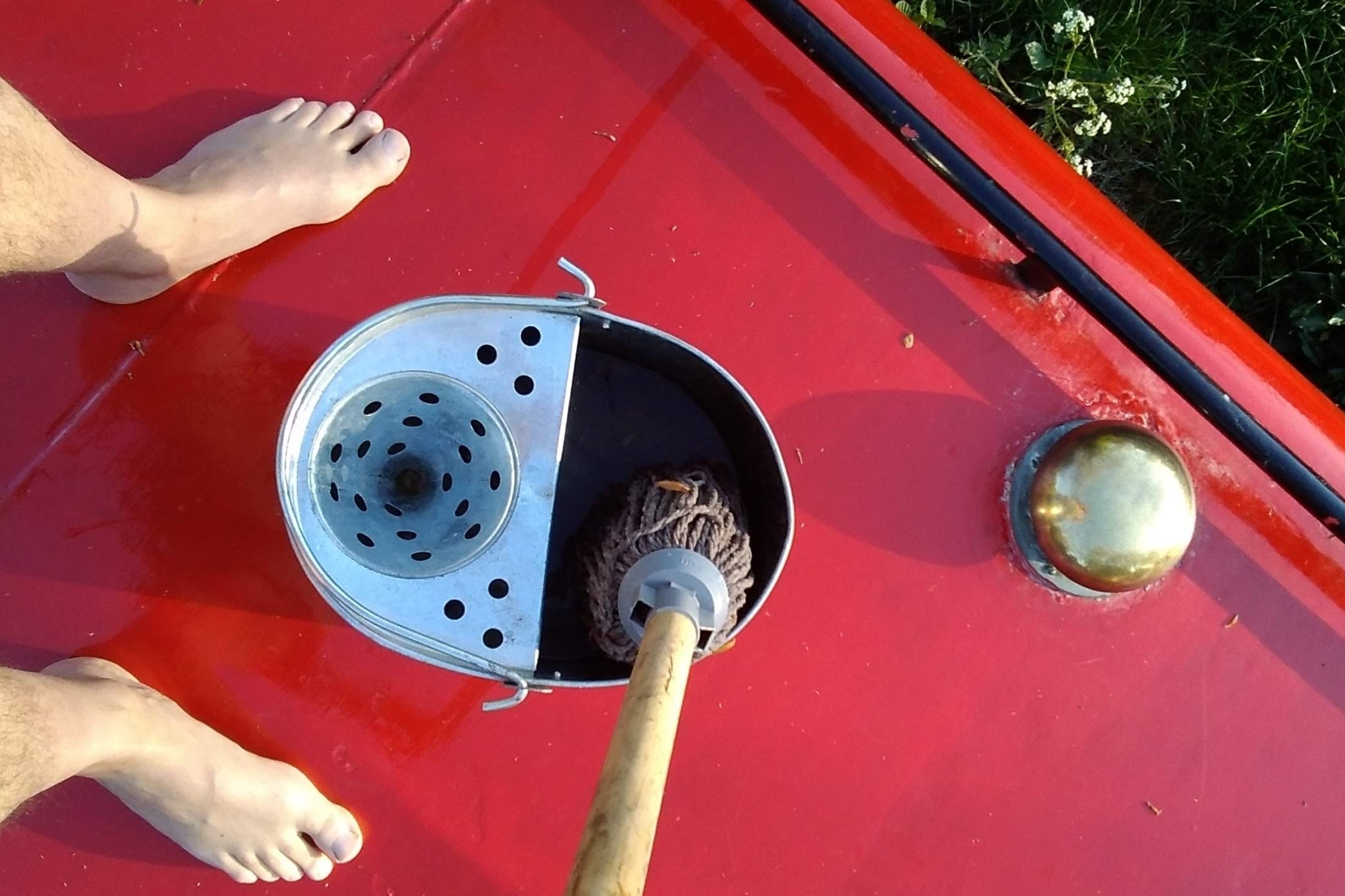 Mop bucket on boat