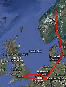 London to Trondheim map